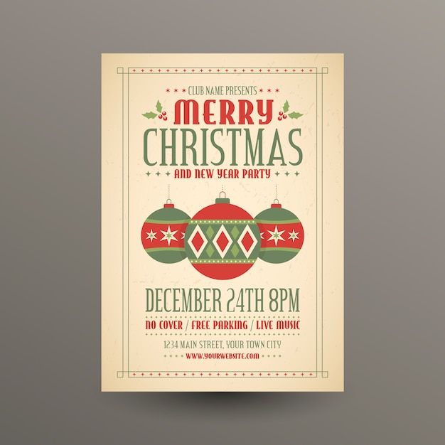 Christmas celebration with lettering Free Vector