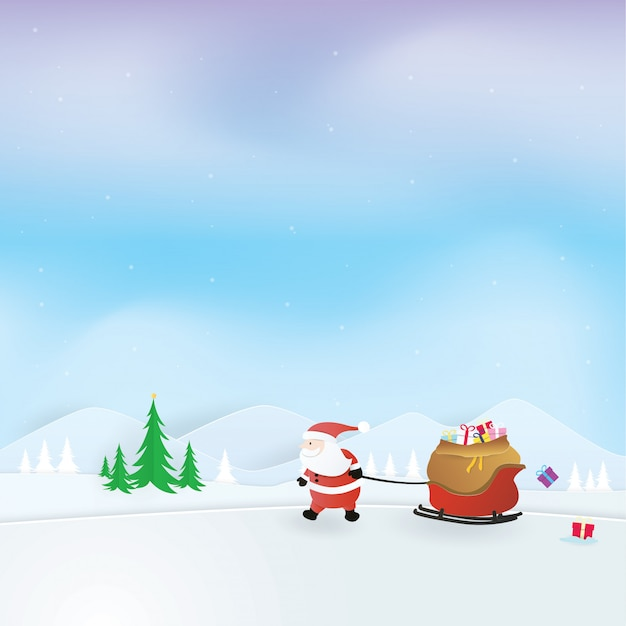 Christmas celebrations, happy new year, santa claus pulling a sleigh full of presents, craft vector, design Premium Vector