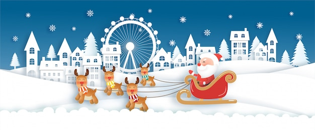 Christmas celebrations with santa and cute reindeer in the snow village for christmas card Premium Vector