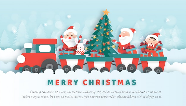 Christmas celebrations with santa and friendsin paper cut and craft style banner Premium Vector