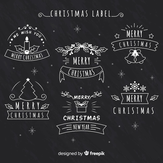 Christmas Chalkboard.Christmas Chalkboard Label Collection Vector Free Download
