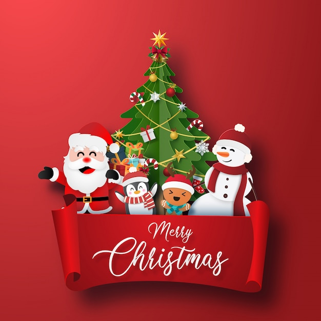 Christmas character and christmas tree with red label Premium Vector