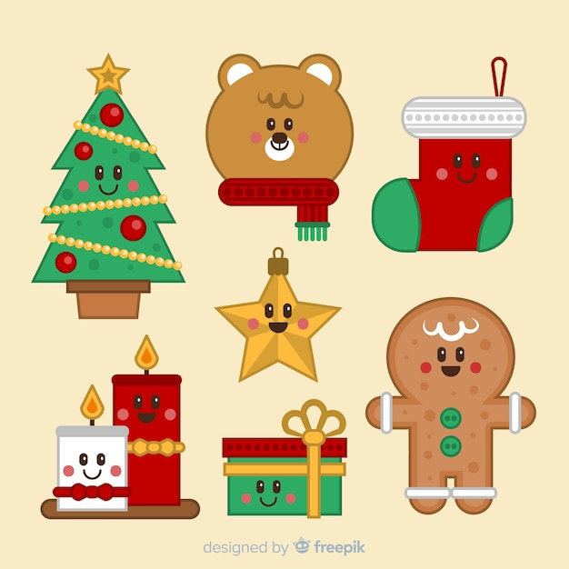 Christmas character collection Free Vector