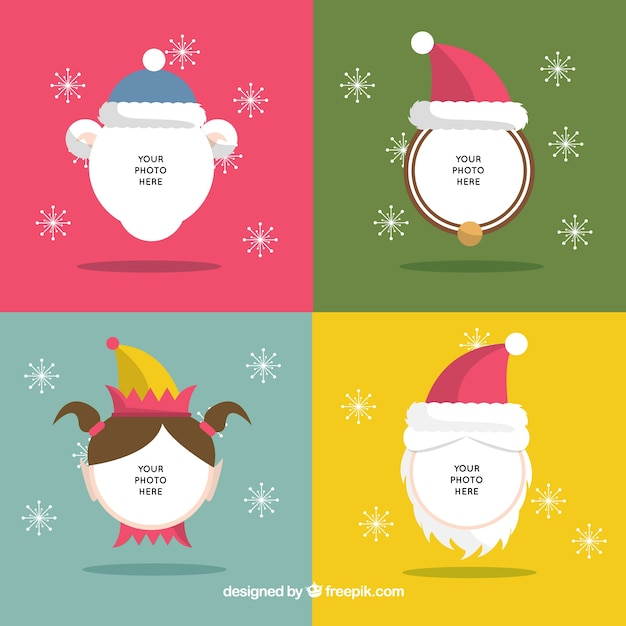 Christmas character faces template Vector – Christmas Template Free