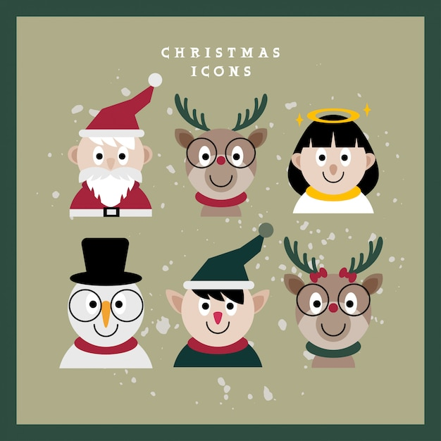 Christmas character faces Premium Vector
