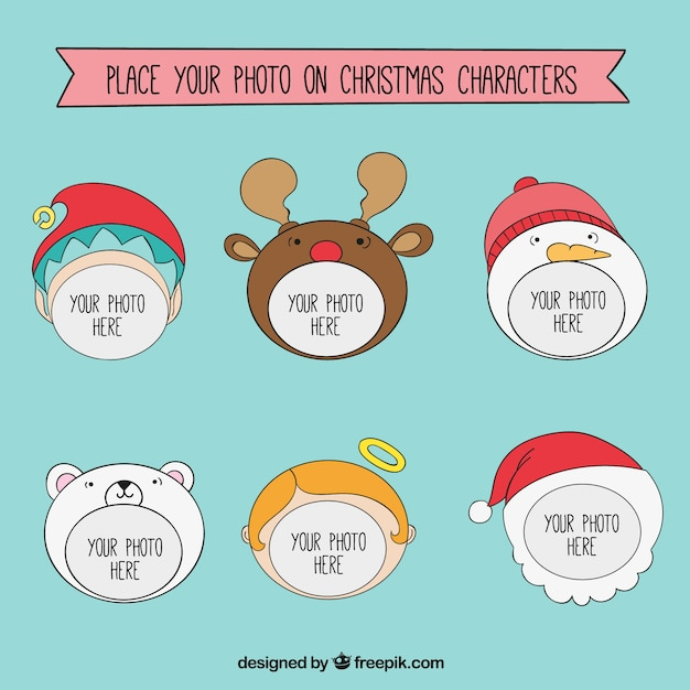 Christmas Character Frames Template Vector Free Download