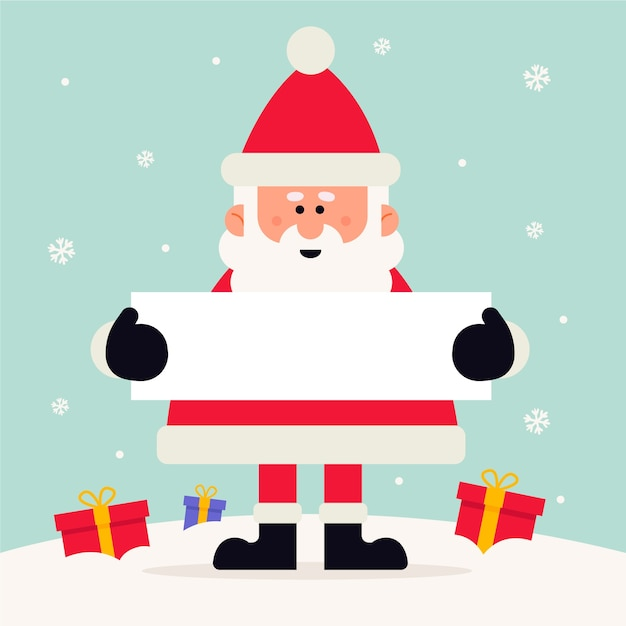 Christmas character holding blank banner Free Vector