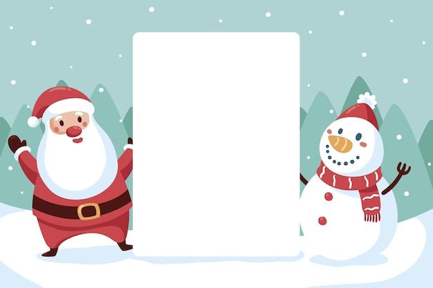 빈 배너를 들고 크리스마스 문자 프리미엄 벡터