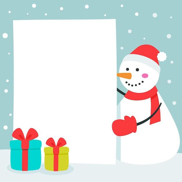 빈 배너를 들고 크리스마스 문자 무료 벡터