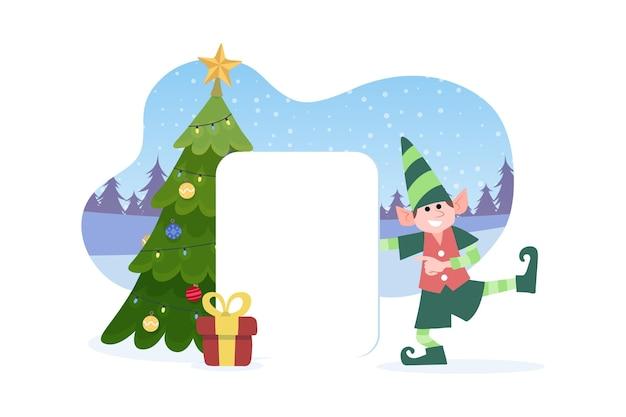 空白のバナーを保持しているクリスマスのキャラクター 無料ベクター