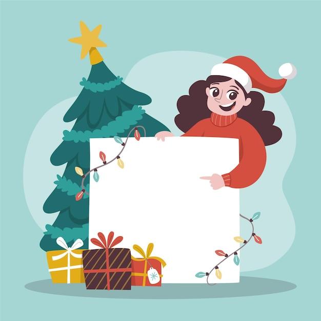 Рождественский персонаж держит пустой знамя Бесплатные векторы