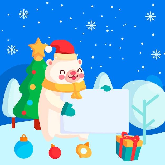 白紙の横断幕を持ってクリスマス文字シロクマ 無料ベクター