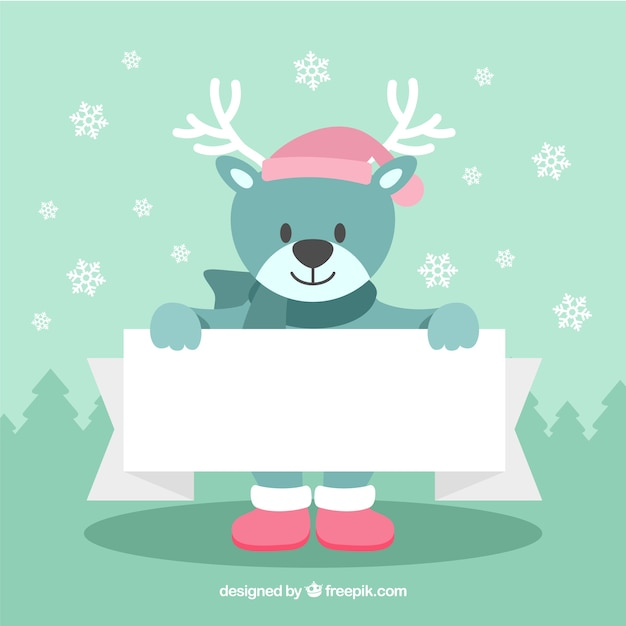 Christmas character with blank sign