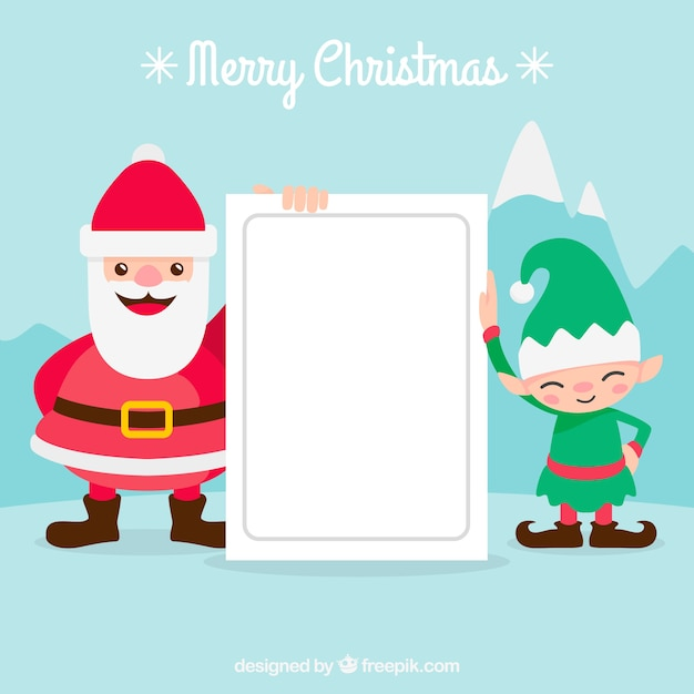 Christmas character with letter background
