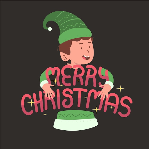 Christmas character with lettering Free Vector