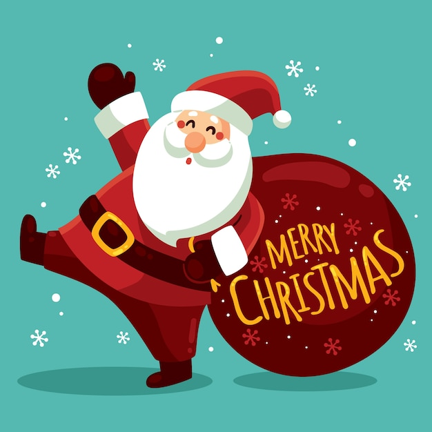 Christmas character with lettering Premium Vector