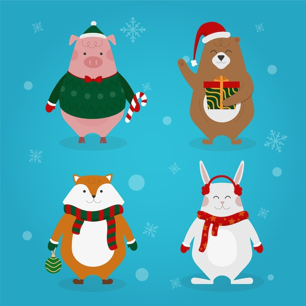 Christmas characters collection flat design style Free Vector