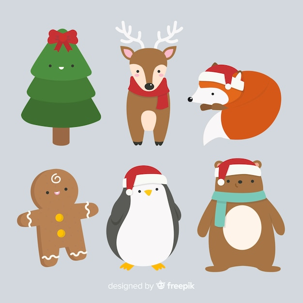 Christmas characters collection in flat design Free Vector