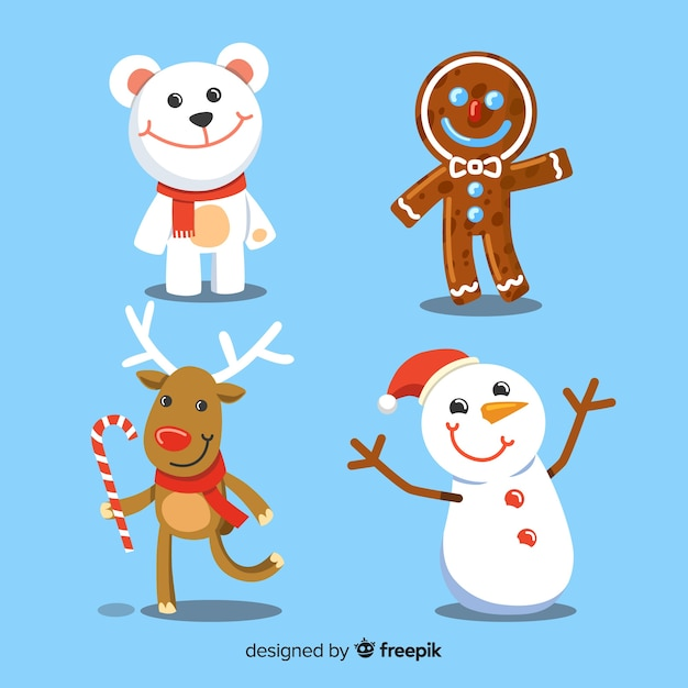 Christmas characters collection Free Vector