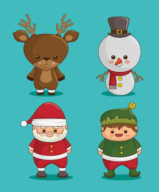 Christmas characters: deer, snowman, santa claus and elf Free Vector