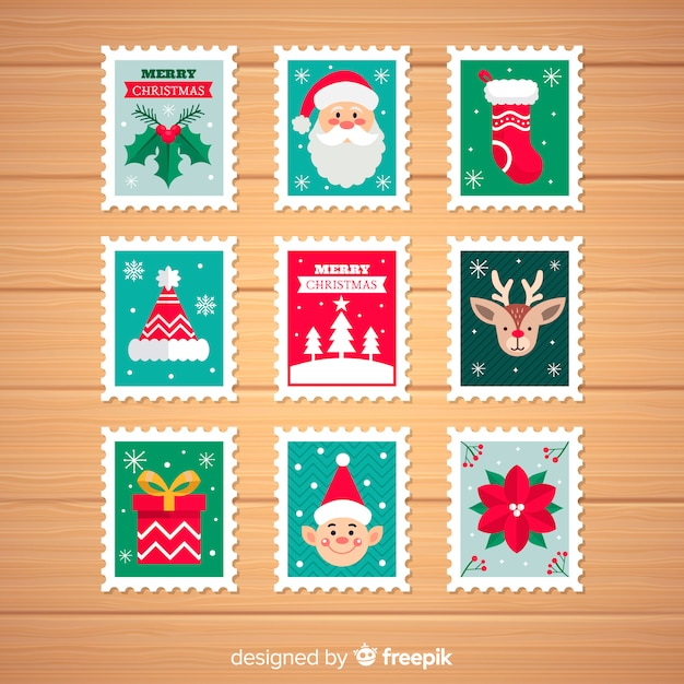 Christmas characters elements pack Free Vector
