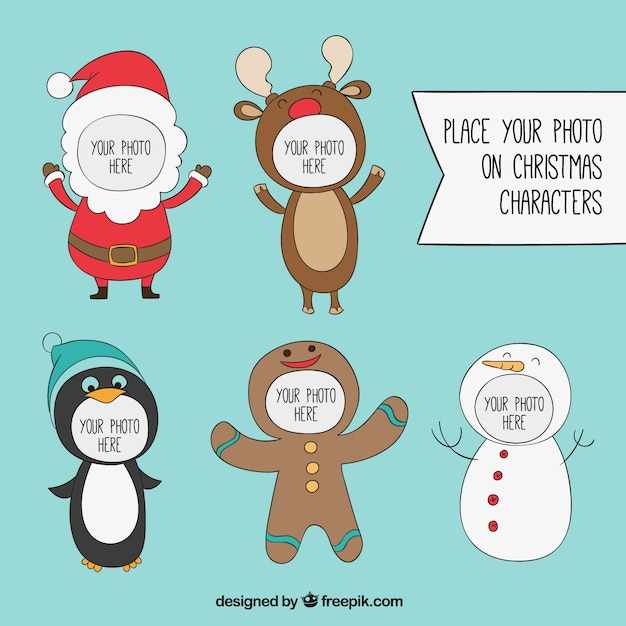 Christmas characters frames Vector | Free Download