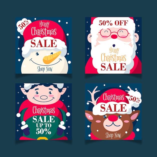 Personaggi natalizi vendita instagram social media post template Vettore gratuito