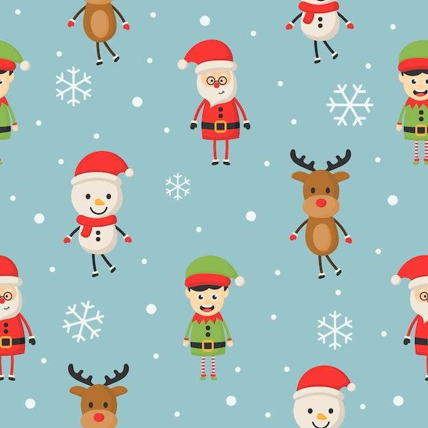 Christmas characters seamless pattern on blue . Premium Vector