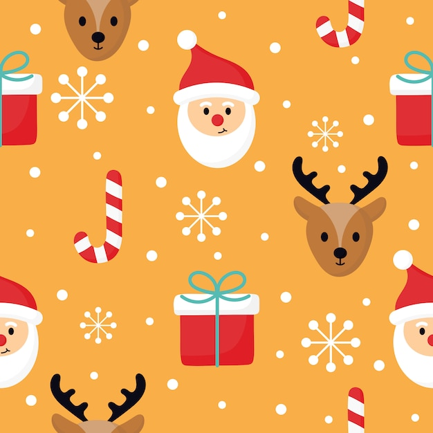 Christmas characters seamless pattern on orange background. Premium Vector