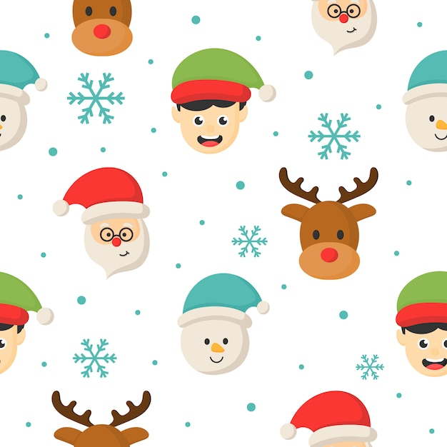 Christmas characters seamless pattern on white background. Premium Vector