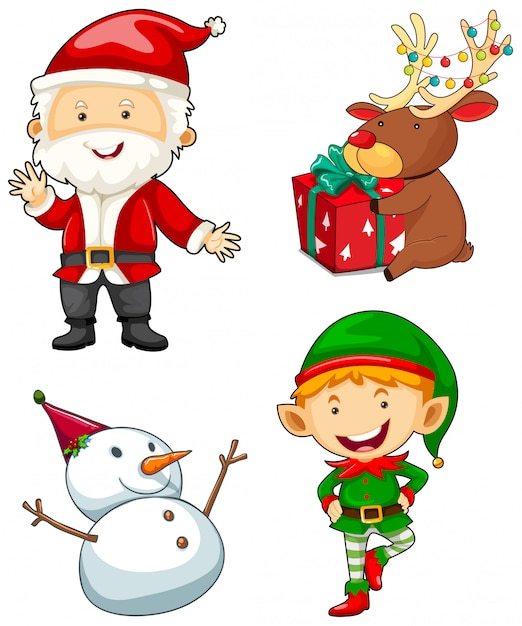 Christmas characters set on white background Vector | Free