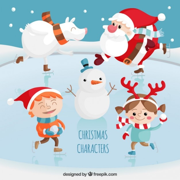 Christmas characters set Free Vector