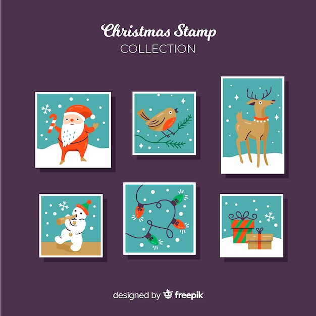 Christmas characters stamp collection Free Vector