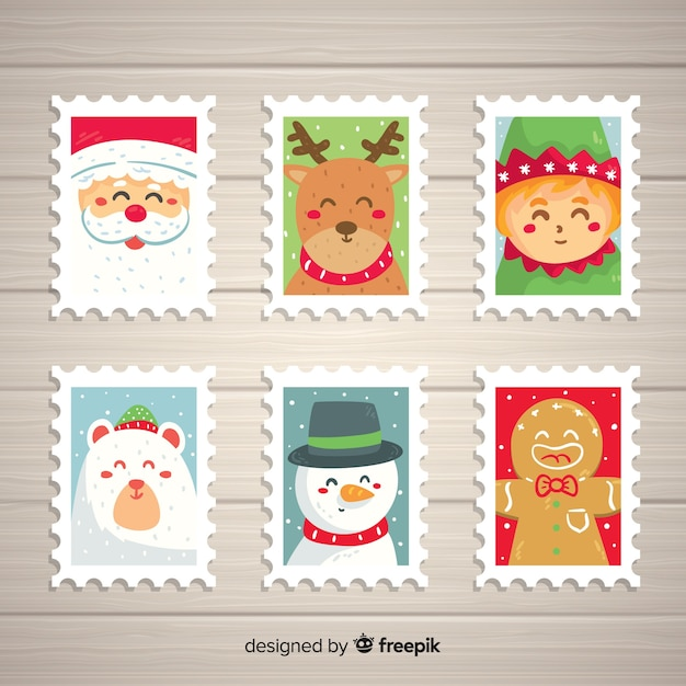 Christmas characters stamps pack Free Vector