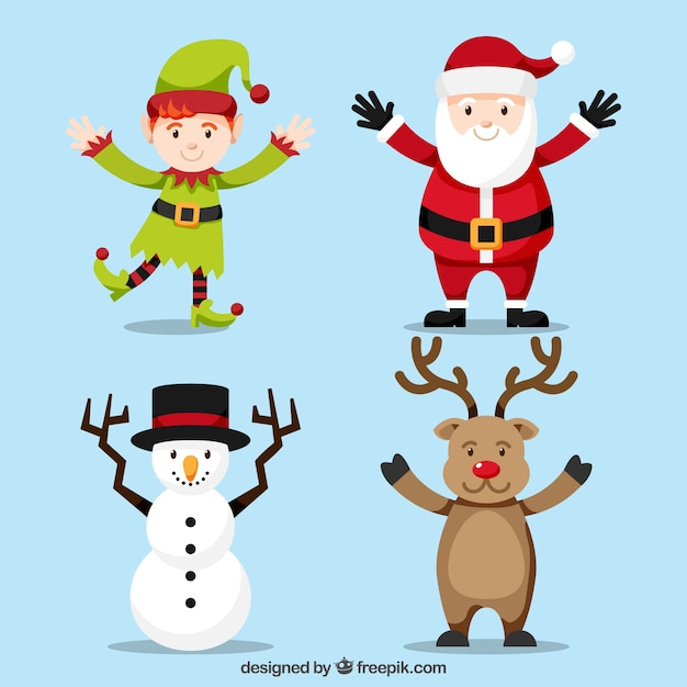 Christmas characters with arms stretched