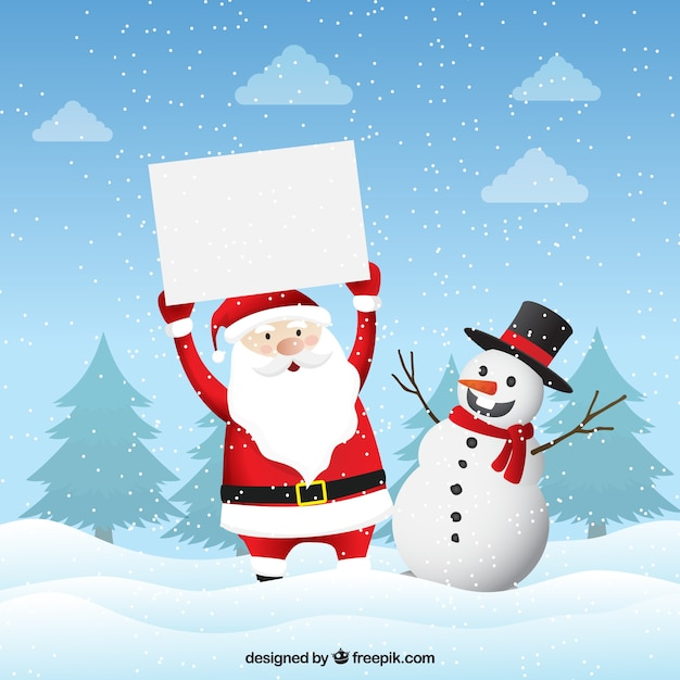 Christmas characters with blank sign