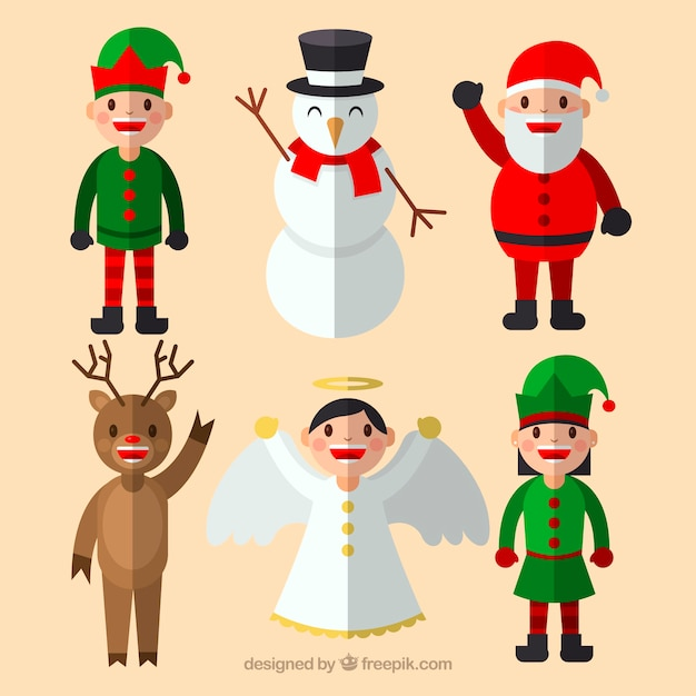 Christmas characters with flat design