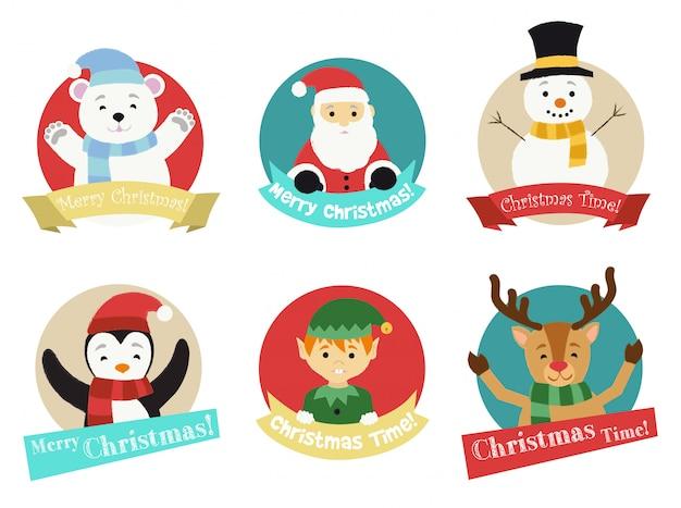 Christmas characters Premium Vector