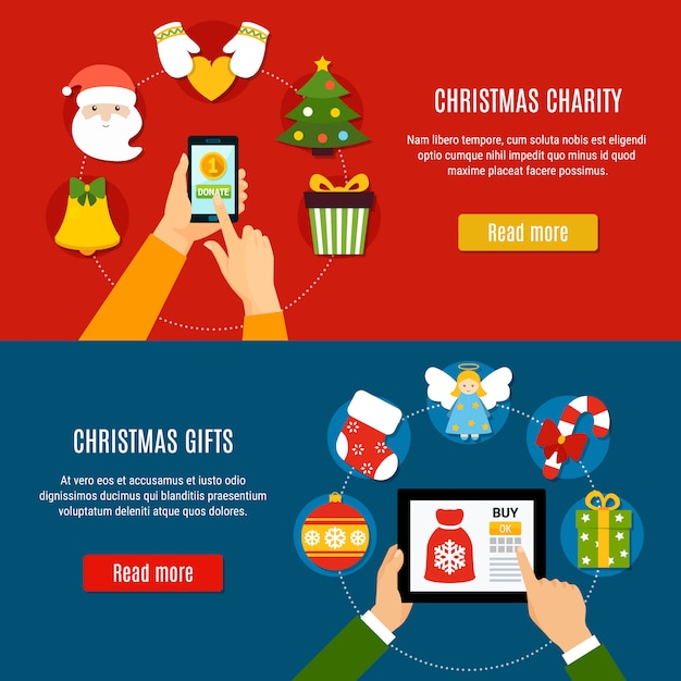 Christmas charity and gifts banners Free Vector