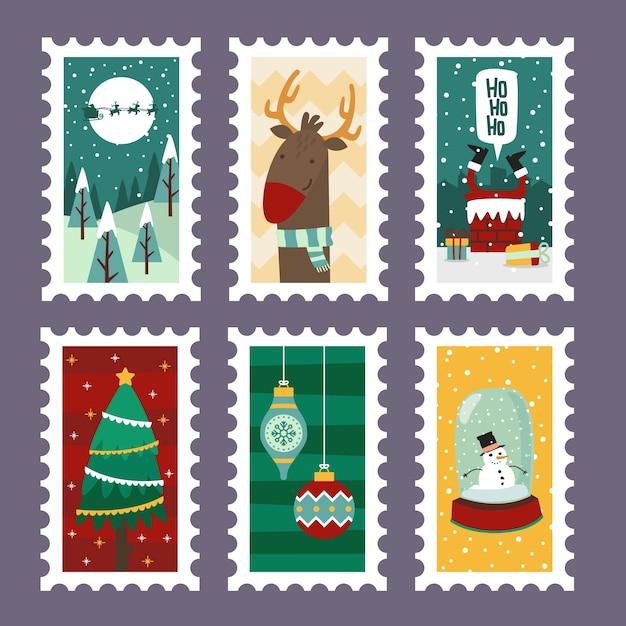 Рождественские веселые марки с праздничными символами в плоском дизайне Бесплатные векторы