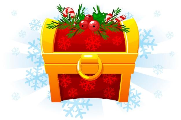 Рождественский сундук в мультяшном стиле. праздничный сундук. иконка для 2d-игры. снежный фон на отдельном слое Premium векторы