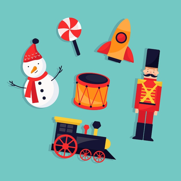 Christmas children toys flat design Free Vector