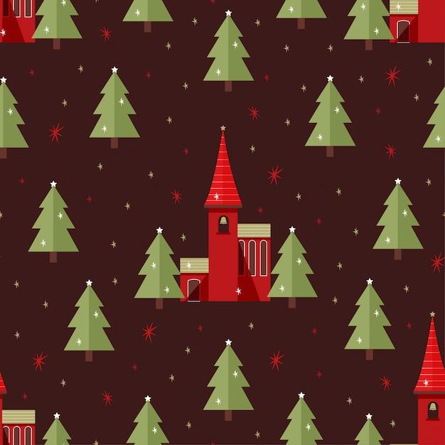 Christmas church seamless pattern Premium Vector