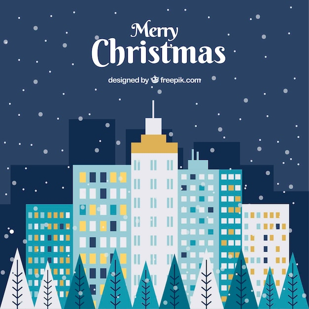 Christmas city background in blue tones with yellow elements