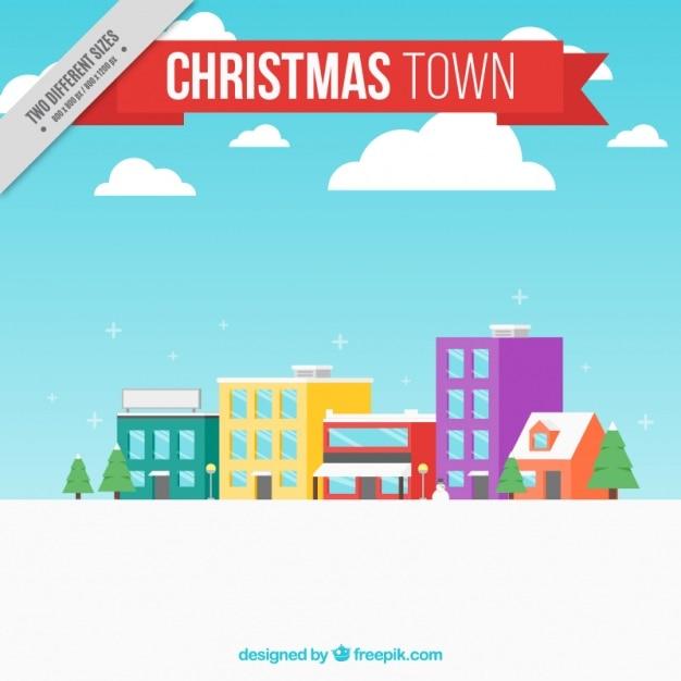 평면 디자인에 크리스마스 도시 배경 무료 벡터