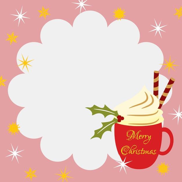 Christmas coffee background. Premium Vector