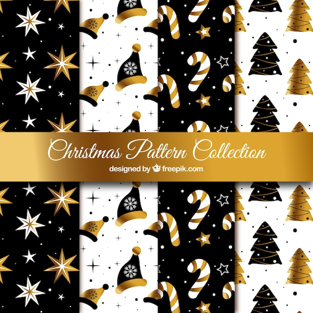 Christmas collection of black and golden patterns Free Vector