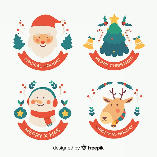 Christmas collection of design badge elements Free Vector