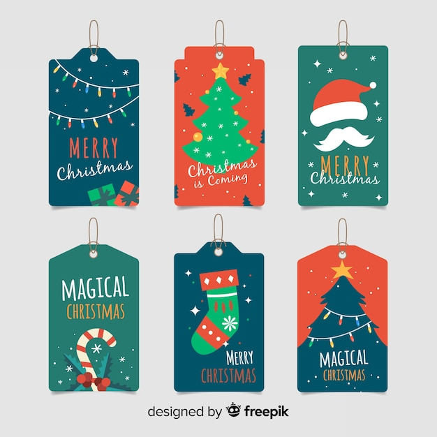 Christmas collection of design label elements with handle Free Vector