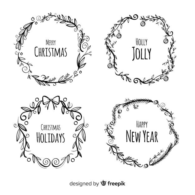 Рождественская коллекция цветов и венка Бесплатные векторы